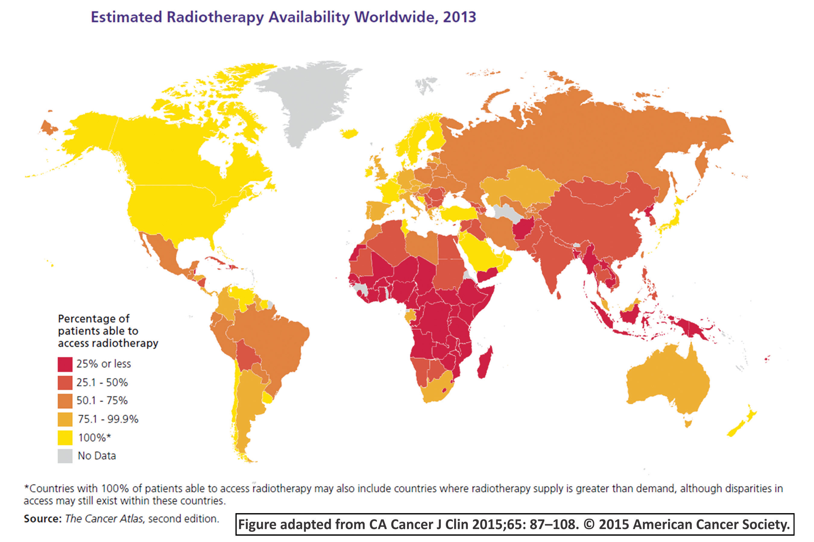 Image of map showing cancer rates throughout the world